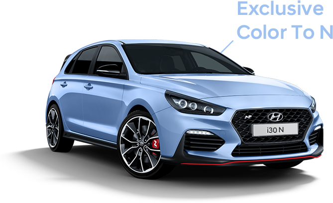 i30 N blue car, Exclusive Color To N